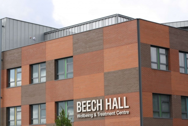 PROJECT: BEECH HALL WELLBEING & TREATMENT CENTRE, BELFAST. ARCHITECT. TODD ARCHITECTS, BELFAST MATERIAL. RHEINZINK BLUE GREY SYSTEM. TRADITIONAL STANDING SEAM